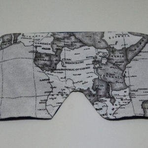 The front of the mask is an old black and white map of central Africa